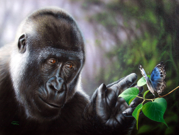 Gorilla painting Gentle Giant by Carl Thompson