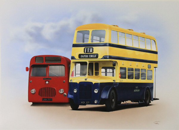 Bus painting illustration by Carl Thompson